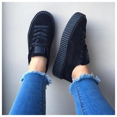 $250 Puma Shoes - Rihanna x Fenty Puma Black Satin Suede Creepers