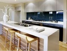 Timber panelling at front of bench Glass Backsplash Kitchen, Blue Kitchen Cabinets, White Cupboards, Glass Kitchen, Kitchen Flooring, Kitchen Island, Kitchen Board, Kitchen Ideas, Timber Panelling
