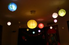"""Customer Story: """"For my son's 3rd birthday, he asked for a spaceship party. So rather than just blowing up some balloons and hanging up some spaceships I decided to give him a party in outerspace. After much thinking, I decided I wanted to use paper lanterns as my planets, moons, and sun. Needless to say my son LOVED LOVED LOVED it as did all the guest. It was a birthday to remember."""" (Kim T. / West boylston MA) (www.paperlanternstore.com)"""