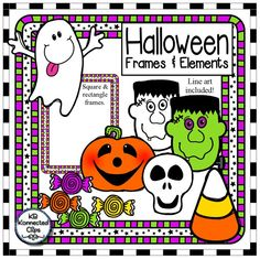 Halloween Clip Art Mix it Up!- Frames and Elements $ Includes ghost Frankenstein skull jack-o-lantern 4 candies 1 candy corn 5 square frames (with & without white centers) 5 rectangle frames (with & without white centers)  7 line art images  36 png images in all! 300dpi https://www.teacherspayteachers.com/Product/Halloween-Clip-Art-Mix-it-Up-Frames-and-Elements-2120611