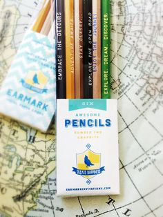 Pencil Mix Up, Choose your own set of 6 MANY unique colors and sayings Great Gift under 10 bucks. $9.00, via Etsy.