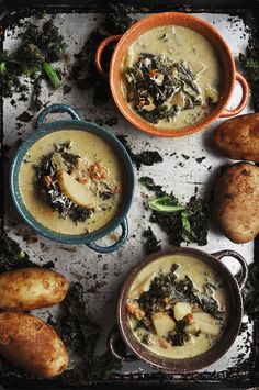 Spicy Sausage Potato and Kale Soup Recipe (forget heavy cream--put a can of white beans in the blender to thicken soup)