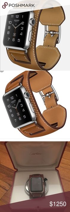 Apple Watch Hermes Cuff 42mm Stainless Steel Brand new Apple Watch Hermes Cuff 42mm stainless steel case with fauve barenia leather ban. This was a gift and I do not have receipt or box. Is was never paired and yes the Apple Watch comes with the Hermes band. No trades, please let me know if you have any questions :) comes with charger. Hermes Accessories Watches