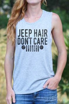 "Jeep girl shirt - ""Jeep Hair Don't Care"" - Mudding shirt for country girls by TumbleRoot"