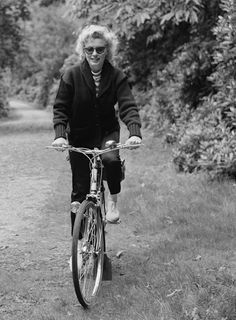 Marilyn Monroe during a bike ride in England, 13th August 1956.