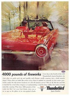 "1962 Thunderbird Sports Roadster print advertisement (""Variant B"") Vintage Travel, Vintage Cars, American Dream Cars, Roman Candle, Hail Storm, Tonneau Cover, Ford Thunderbird, Unique Cars, Art"