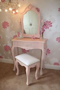 Shabby Chic Dressing Table / With matching bench, all in pink.