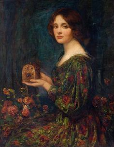 ⊰ Posing with Posies ⊱ paintings of women and flowers - Thomas Edwin Mostyn (1864–1930) - The Jewelled Casket