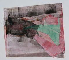 a collage: used the clothes that artist's monotype print 林孝彦 HAYASHI Takahiko 1983