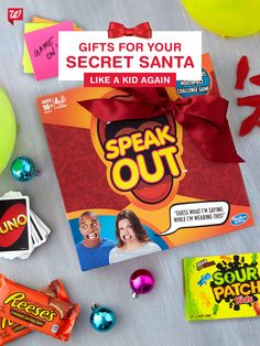 Classic UNO and the Speak Out game that's got everyone talking (literally!) paired with childhood favorite candies make for a gift everyone will enjoy.