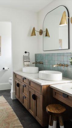 Bathroom Renos, Master Bathroom, Earthy Bathroom, Dark Wood Bathroom, Modern Vintage Bathroom, Blue Bathroom Vanity, Bathroom Accents, Eclectic Bathroom, Modern Bathrooms