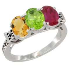 10K White Gold Natural Citrine, Peridot & Enhanced Ruby Ring 3-Stone Oval 7x5 mm Diamond Accent, sizes 5 - 10