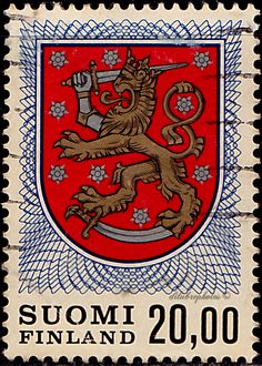 Finnish Arms from Grave of King Gustav Vasa, Scott Issued Engr. Coat Of Arms, Porsche Logo, Finland, Logos, Stamps, King, Art, Seals, Art Background