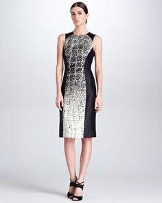 Crocodile-Degrade-Jacquard Dress, Black/Metallic by Carolina Herrera at Bergdorf Goodman.