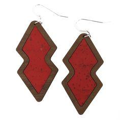 Candy Apple Red Wood+Cork Double Diamond Earrings