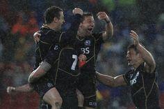 Scotland celebrate their win over Australia.