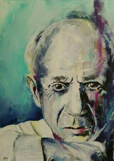 Acrylmalerei - Portrait Picasso acryl expressive modern 70x50cm - ein Designerstück von Henry-Art bei DaWanda Picasso, Portrait, Modern, Painting, Art, Art Background, Trendy Tree, Headshot Photography, Painting Art