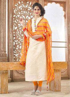 Compelling Cream and Yellow Bandhani Print Decent Indian Salwar Kameez
