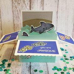 """Rina on Instagram: """"I finally got to play with my #LawnFawn scalloped box card pop up die with the new #DuhNuh stamp set, also mixed in #mermaidforyou for the…"""""""
