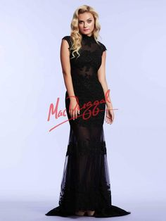 Black Prom Dress | Lace Gown with Sheer Illusion | Mac Duggal 61922M
