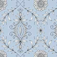 Flowing hand-drawn damask pattern made up of vines, leaves and fleurettes on a grayish blue ground. Printed beautifully! (Also coordinates with Summer