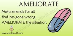 Ameliorate - To make better, to relieve, to improve.