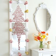 Create a Christmas tree on your mirror with lipstick. Simply pen your thoughts in your favourite shade and when the silly season is over, clean it off using glass wipes. Add a few baubles around the frame if you fancy a bit of bling. Fabric Remnants, Christmas Decorations, Holiday Decorating, Christmas Trees, Ladder Decor, Craft Projects, Xmas, Diy Crafts, Seasons