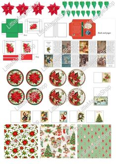 Printable Christmas Template - Plates, Book, Greeting Cards, Poinsettia, Bag and Box for dollhouse miniatures Christmas Carol Book, Christmas Greeting Cards, Christmas Greetings, Christmas Diy, Xmas, Printable Christmas Templates, Christmas Printables, Miniature Crafts, Miniature Christmas