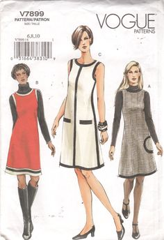 Vogue 7899 Misses Easy Mod Dress and Jumper Pattern Womens