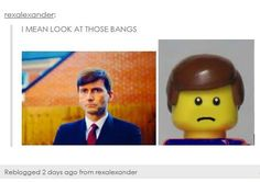 This made me laugh. David Tennant in Broadchurch 2 totally looks like Lego Dude!