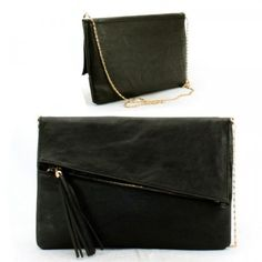 Buy New: $26.99 : Tassels Removable Chain Strap Purse and Bag / Clutch / Black/ Rchly004blk: #BlackHandbagsForGlamorousLadies