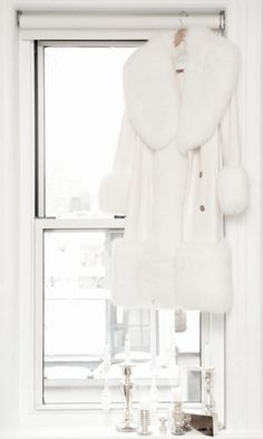 #FabulousFurFriday  Gorgeous white coat with fur cuffs and trim. Love the shawl collar.