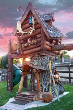 Premium log cabin themed treehouse available from Living Waterscapes.