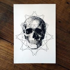 LIMITED Geometric Skull Tattoo print by CAPTAINCHAOSARTWORKS