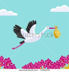 a vector cartoon illustration of a flying stork carrying a dotted bundle; a bird in flight; a digital draw; a square banner, poster or card of a blue sky, clouds and pink flowers