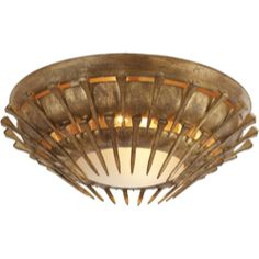 Visual Comfort John Rosselli Lawrence Flush Mount in Gold Leaf with Frosted Glass SR4001GI-FG