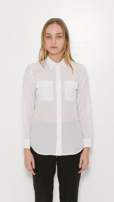 Equipment Silk Slim Signature Shirt in Bright White   The Dreslyn