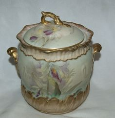 Wonderful 1890's French Hand Painted Cracker / Biscuit Jar w/ Orchids from hillandhill on Ruby Lane