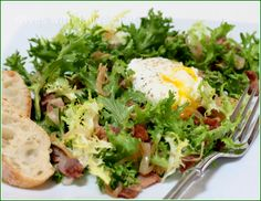 Frisee Salad with Poached Egg and Bacon