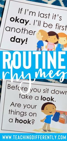 Make classroom management fun, accessible, and easy! Using rhymes and chants can help make your school routines stick! These routine rhyme and chant posters are perfect for preschool, early elementary, and special education classrooms! Classroom Procedures, Classroom Behaviour, Classroom Discipline, Classroom Ideas, Make School, School Routines, Kindergarten Routines, Preschool Schedule, Preschool Learning Activities