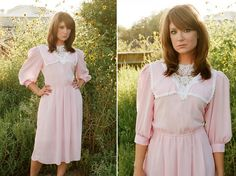 SALE Vintage Pink and Lace Doll Dress by KittenPawsVintage on Etsy, $20.00