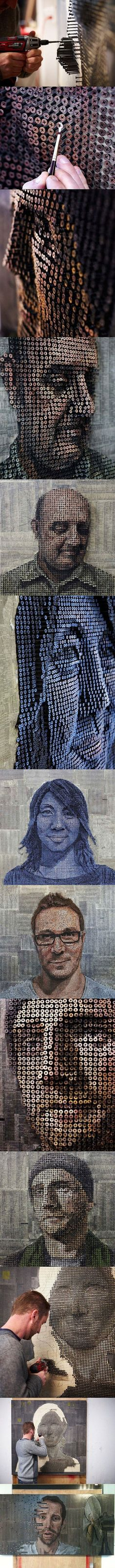 portraits made out of screws by Andrew Myers Amazing portraits made out of screws by Andrew Myers. check out his website.Amazing portraits made out of screws by Andrew Myers. check out his website. 3d Portrait, Street Art, Instalation Art, Sculpture Metal, Wow Art, Art Plastique, Oeuvre D'art, Creative Art, Art Projects