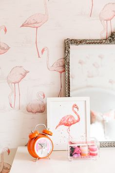 Pink Flamingo Day - The Glam Pad featuring Cole & Sons Flamingos - Contemporary Restyled Wallpaper Girls Bedroom Wallpaper, Of Wallpaper, Designer Wallpaper, Wallpaper Designs, Amazing Wallpaper, Pink Flamingo Wallpaper, Pink Flamingos, Flamingo Hotel, Flamingo Nursery
