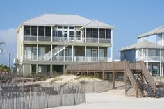 Beach wedding or family reunion! Final Appeal in Fort Morgan, AL stands out. The 6 bedrooms include a king master, 3 queens, and 2 more bedrooms each with 2 pairs of bunks. Add the sleeper sofa and up to 18 people will have a fabulous time creating warm memories. Two refrigerators, 7 TVs, 2 porches including a screened area, heated & enclosed outdoor shower . . . everything you need to forget your cares and celebrate life! http://www.meyerre.com/house/Final_Appeal