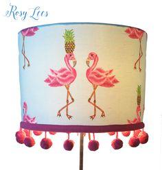 pink girls pompom lampshade,   interior decor,    girls bedroom,    pink flamingo lampshade,  custom made,  rockabilly style,   tikki bar, by RosyLees on Etsy https://www.etsy.com/listing/465865520/pink-girls-pompom-lampshade-interior
