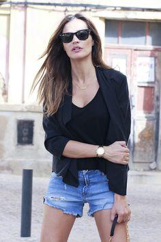 black blazer + cutoffs