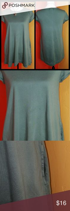 "Woman's Gap military green tunic top in size small Woman's Gap in military green tunic top size small in excellent condition this is super cute and it comes with pockets. Shoulder to shoulder  13"" bust: 18.5 Front length: 30.1/2"" back length: 32"" Tops Tunics"