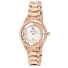 Rose Gold Round Watch with Floating Stones - View All Watches - Kenneth Cole Swag, Gold Plated Bracelets, Watches, Gold Watch, Bracelet Watch, Rose Gold, Quartz, Crystals, Silver
