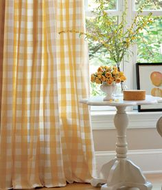 Nothing like a nice yellow buffalo check curtain.  These are the curtain panels I have in the new office.