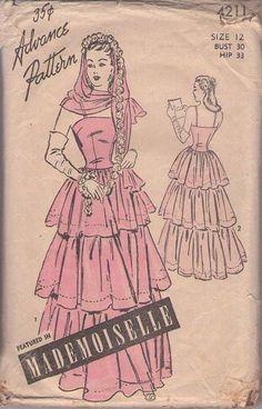 MOMSPatterns Vintage Sewing Patterns - Advance 4211 Vintage 40's Sewing Pattern AMAZING Petite Flounced Tier Red Carpet Evening Gown, Summer Wedding Dress, Decorative Mantle Head Scarf Size 12